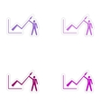 Set of stylish sticker on paper Economic graph and vector image vector image