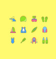 set simple line icons water sport vector image