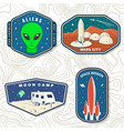 set space mission logo badge patch vector image
