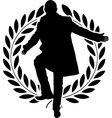 silhouette of dancing politician and laurel wreath vector image vector image
