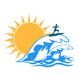 sun sea wave surf logo vector image