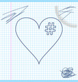 the hash love icon hashtag heart symbol line vector image