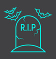 tombstone line icon halloween and scary grave vector image