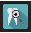 Tooth with magnifying glass icon flat style vector image