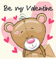 valentine card with cute cartoon teddy bear vector image vector image