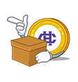 with box hshare coin character cartoon vector image vector image