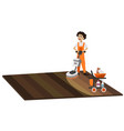 worker with vacuum cleaner washing floor surface vector image vector image