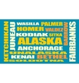 alaska state cities list vector image vector image