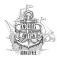 anchor with ribbon and rope isolated on white vector image