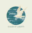 banner with big hand-drawn seagull and sea waves vector image vector image