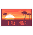 beach with palm trees and sea - italy rest concept vector image