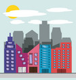 beautiful city with building towers vector image vector image