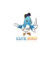 bird logo cute color line design vector image vector image