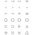 black directions icons set vector image