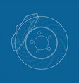 brake disc icon on blueprin vector image
