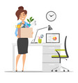 business woman holding cardboard box vector image vector image