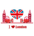 card with icons of london vector image