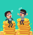 Cartoon businessman and thief with money coins vector image vector image