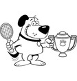 Cartoon dog holding a trophy vector image vector image