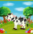 cartoon happy cow smile in the farm vector image vector image