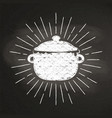 chalk silhoutte of boiling pot with sun rays vector image