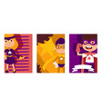 child play in superhero character kid male and vector image