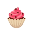 Chocolate cupcake with pink colored icing cartoon vector image