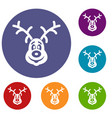 christmas deer icons set vector image vector image