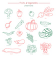 collection of vegetables and fruits vector image vector image