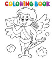 coloring book cupid holding envelope vector image vector image