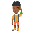 confused african-american boy scratching head vector image