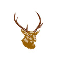 Deer Stag Buck Woodcut Retro vector image vector image