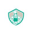 Female Chef Mixing Bowl Shield Retro vector image vector image
