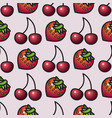 fruit seamless pattern cartoon style strawberry vector image vector image