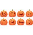 funny expressive halloween pumpkin set vector image
