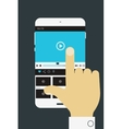 Hand holding mobile device with media player vector image vector image