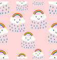 happy rainbow emotion with clouds seamless vector image vector image