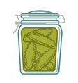 jar with canned cucumbers vector image vector image
