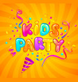 kids party banner with party cracker and confetti vector image vector image