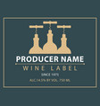 label for wine with bottles and corkscrews vector image vector image
