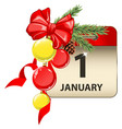 new year calendar with celebration symbols vector image vector image