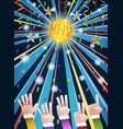 new year disco party countdown hands vector image