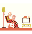 Old man sitting and reading newspaper vector image