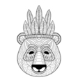 panda with warbonnet in entangle style freehand vector image vector image