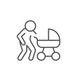 parent with baby carriage line outline icon vector image
