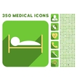 Patient Bed Icon and Medical Longshadow Icon Set vector image vector image