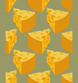 piece cheese seamless pattern milk product vector image vector image