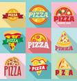 pizza logo set flat style vector image