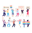 pride parade lgbt people with rainbow flags gays vector image