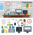 Programmer workspace with hardware vector image vector image